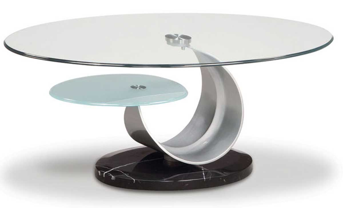 Global Furniture Usa 161 Oval Coffee Table Silver Black