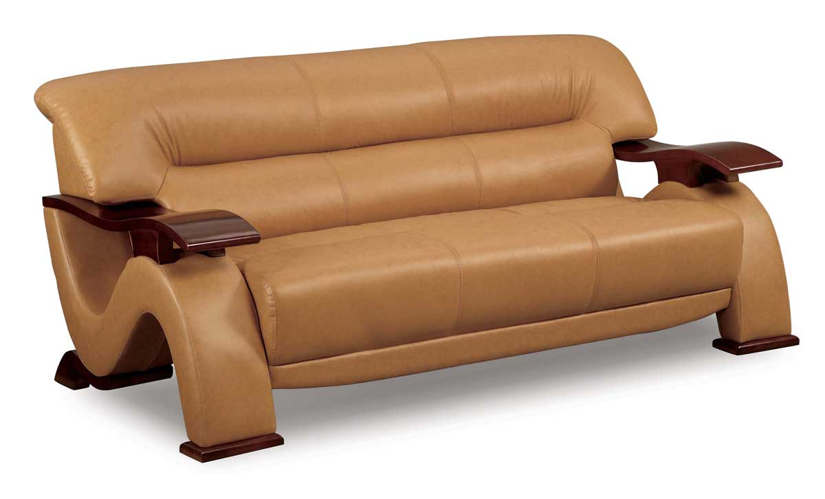 Leather sofa wood trim furniture | Shop for the Best Price