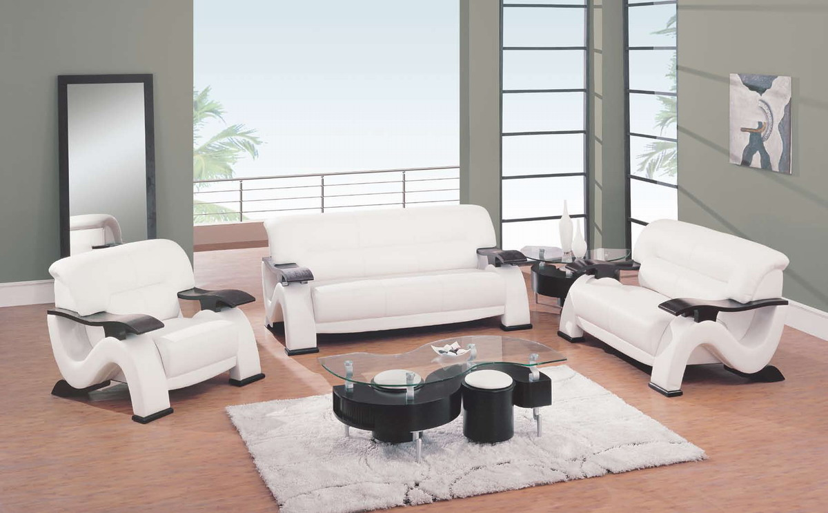 Global furniture usa gf 2033 living room collection for White leather living room furniture