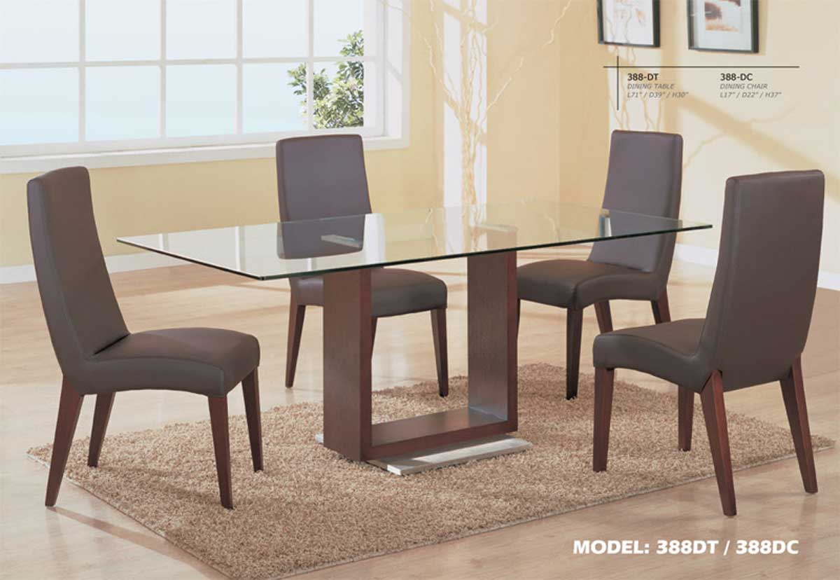 Global Furniture USA GF-388 Dining Set-Mahogany and Silver