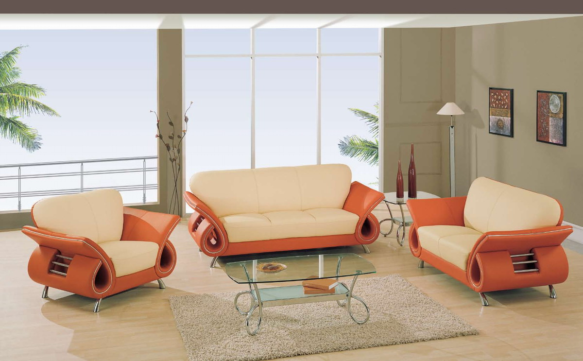 Buy Global Furniture USA GF 599 Living Room Collection Beige Orange Leather