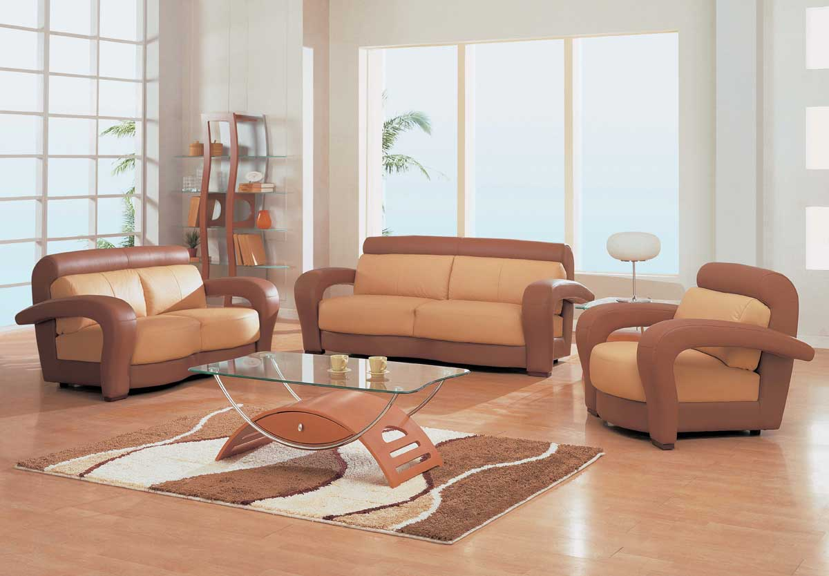 GF-677 Sofa Set-Tan-Brown Leather - Global Furniture