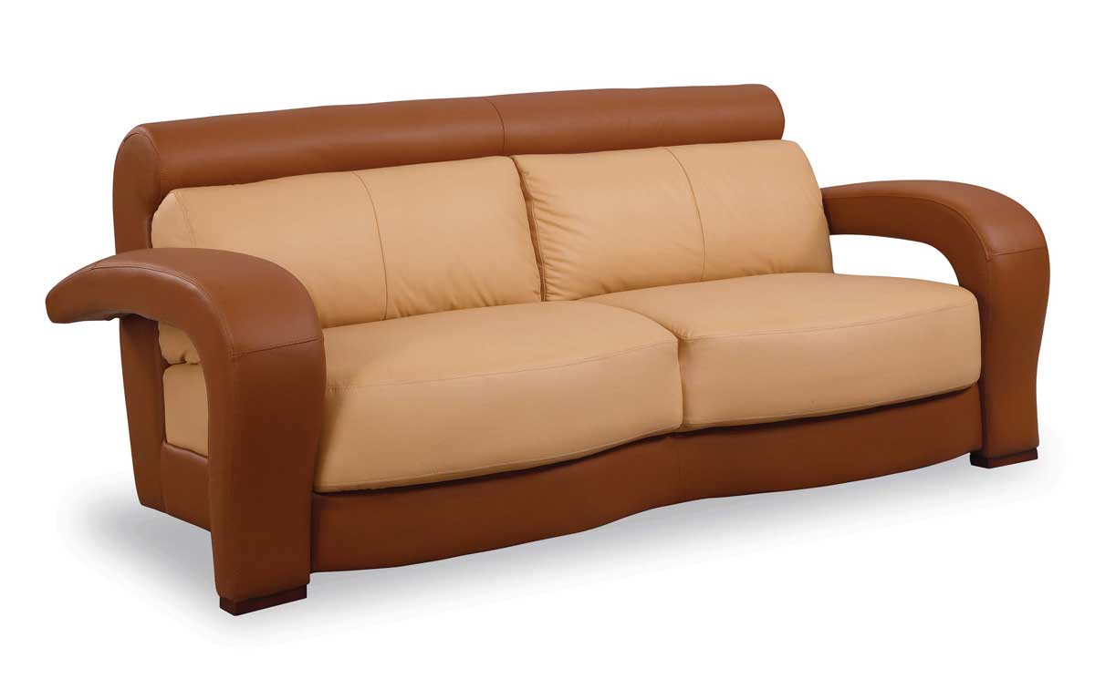 GF-677 Sofa-Tan-Brown Leather - Global Furniture