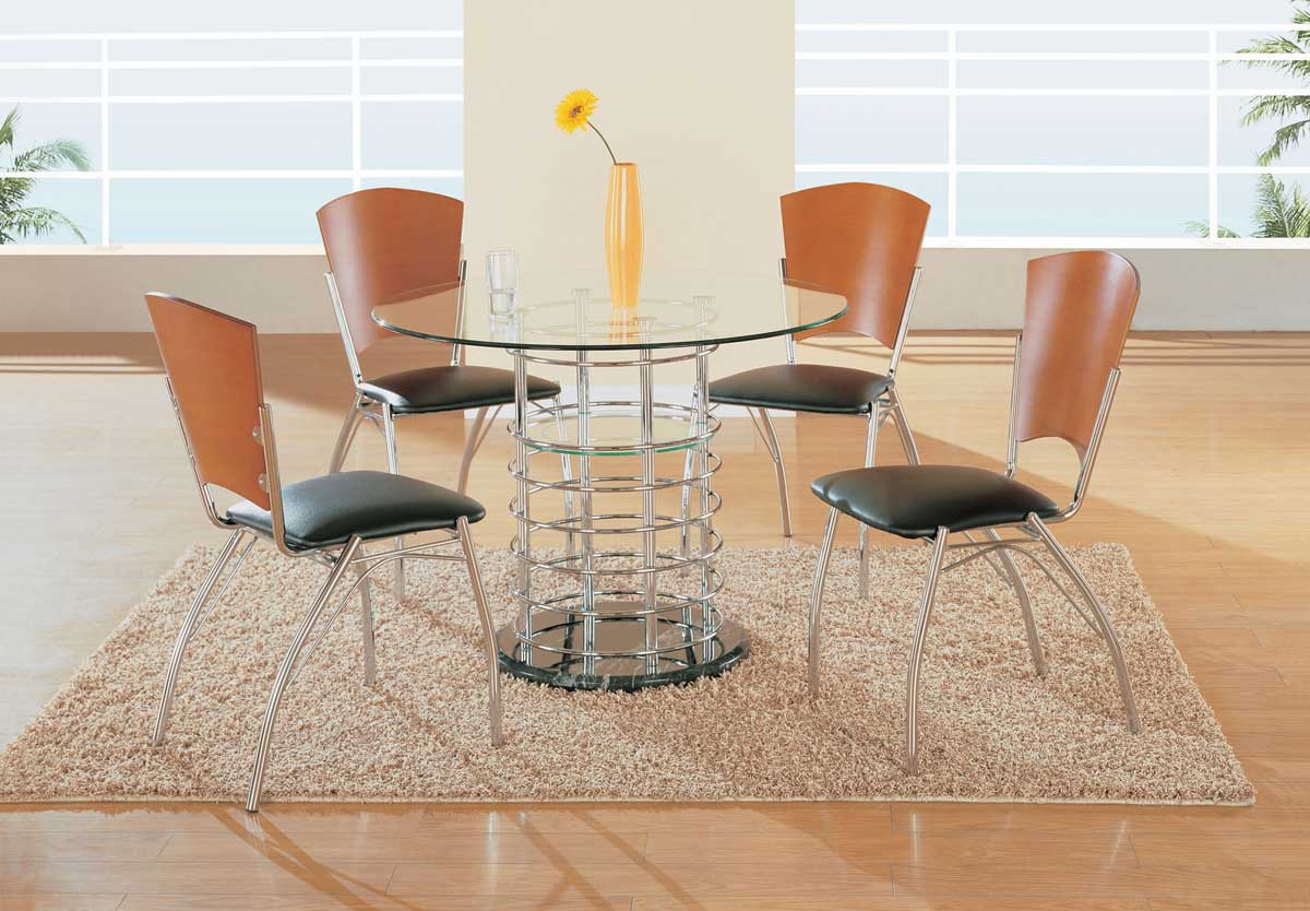Global Furniture USA GF-802 Dining Set - Chome Pipes with Black Marble