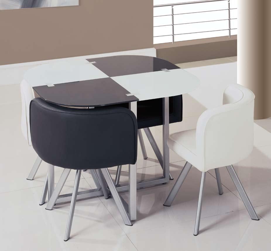 Global Furniture USA GF-810 Dining Set - Black/White