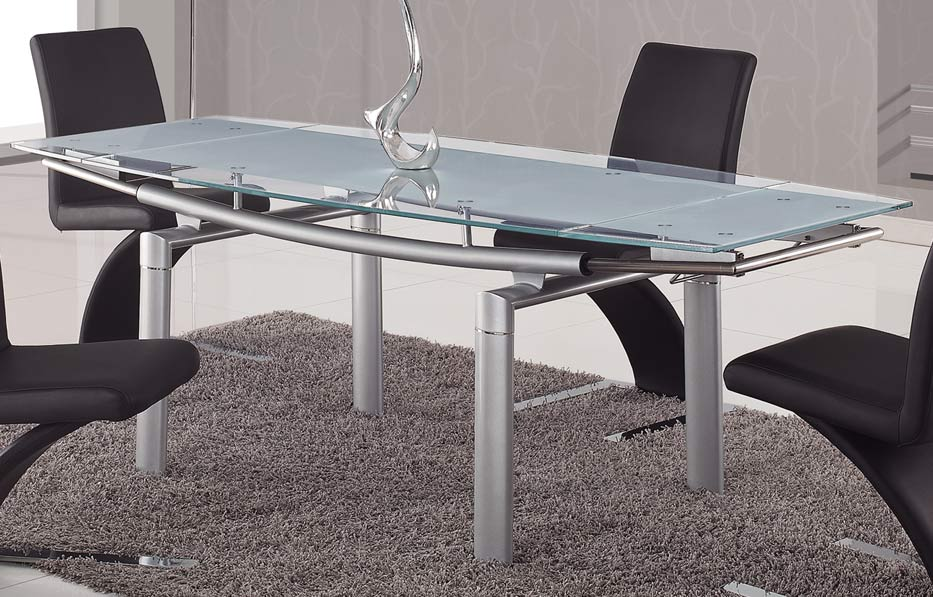 Global furniture usa 88 glass dining table frosted leg for Frosted glass dining table