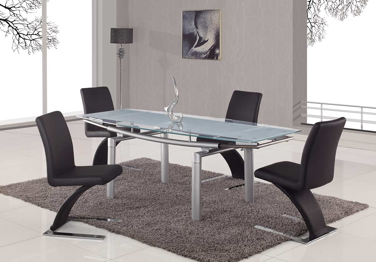 Global Furniture USA 88 Glass Dining Table Frosted Leg D88DT SILVER