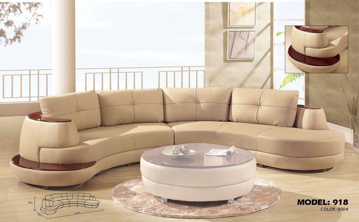 Amazing Global Furniture USA 918 Sectional Sofa   Cappuccino