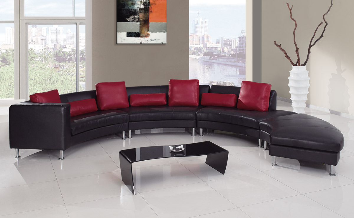 Wonderful Global Furniture USA 919 Sectional Set B   Black/Red