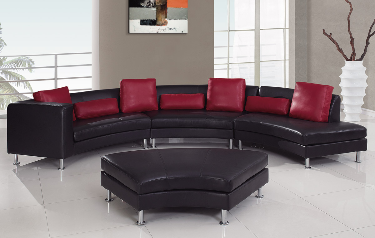 Global Furniture USA 919 Sectional Set B   Black/Red
