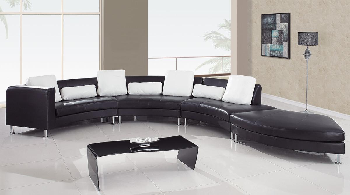 Global Furniture USA 919 Sectional Set B   Black/White