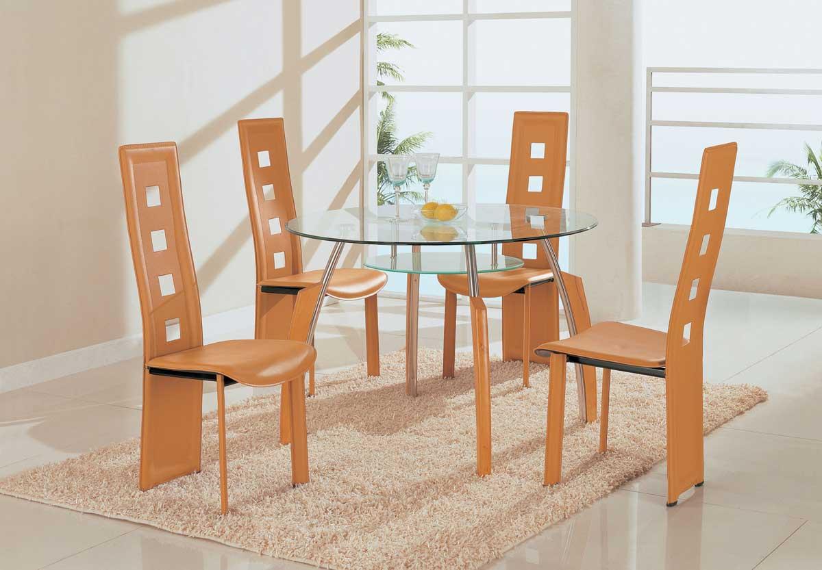 Global Furniture USA GF-A08 Dining Set - Chrome with Beige Wood