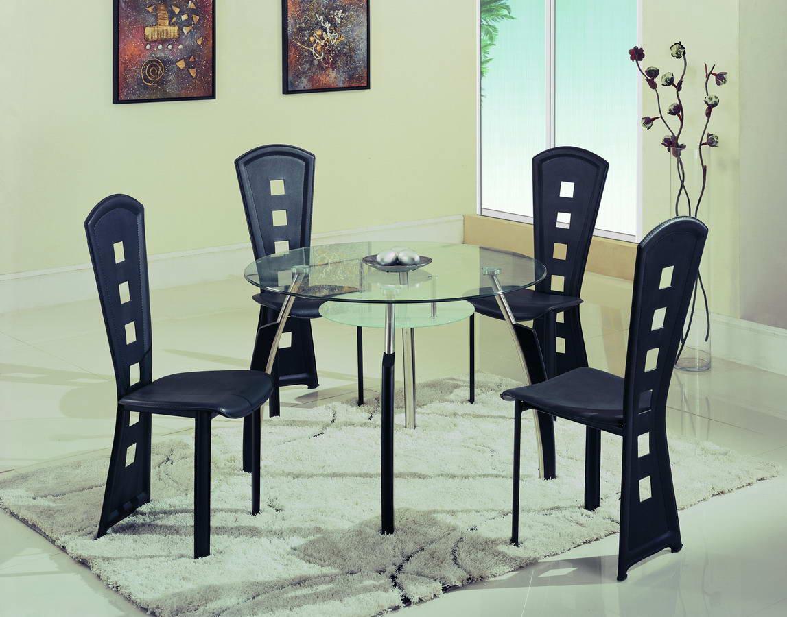 Global Furniture USA GF-A08 Dining Set - Chrome with Black Wood