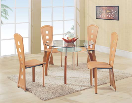 Global Furniture USA GF-A08 Dining Set - Chrome with Cherry Wood