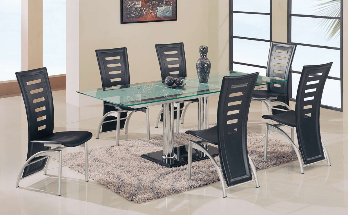 Global Furniture USA GF-A11 Dining Set - Chrome Legs/Glass Top