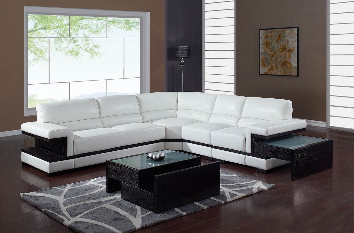 Global furniture usa a203 sectional sofa set white gf for Sofa set designs for hall