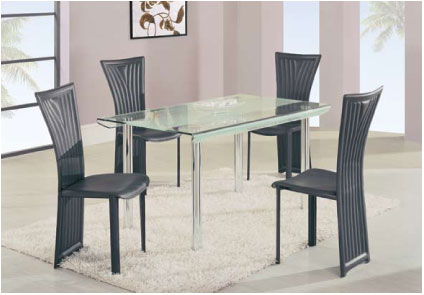 Global Furniture USA GF-A818 Rect Dining Set - Metal/Glass/Black