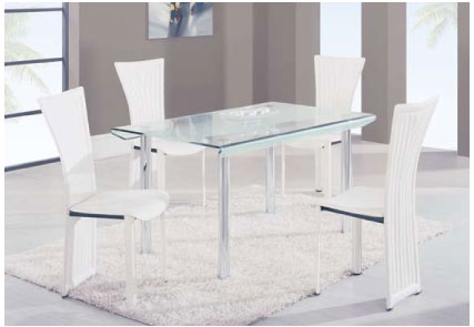 Global Furniture USA GF-A818 Square Dining Set - Metal/Glass/White
