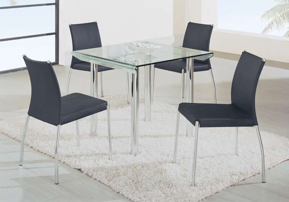 Global Furniture USA GF-A818 Square Dining Set - Metal/Glass/Black