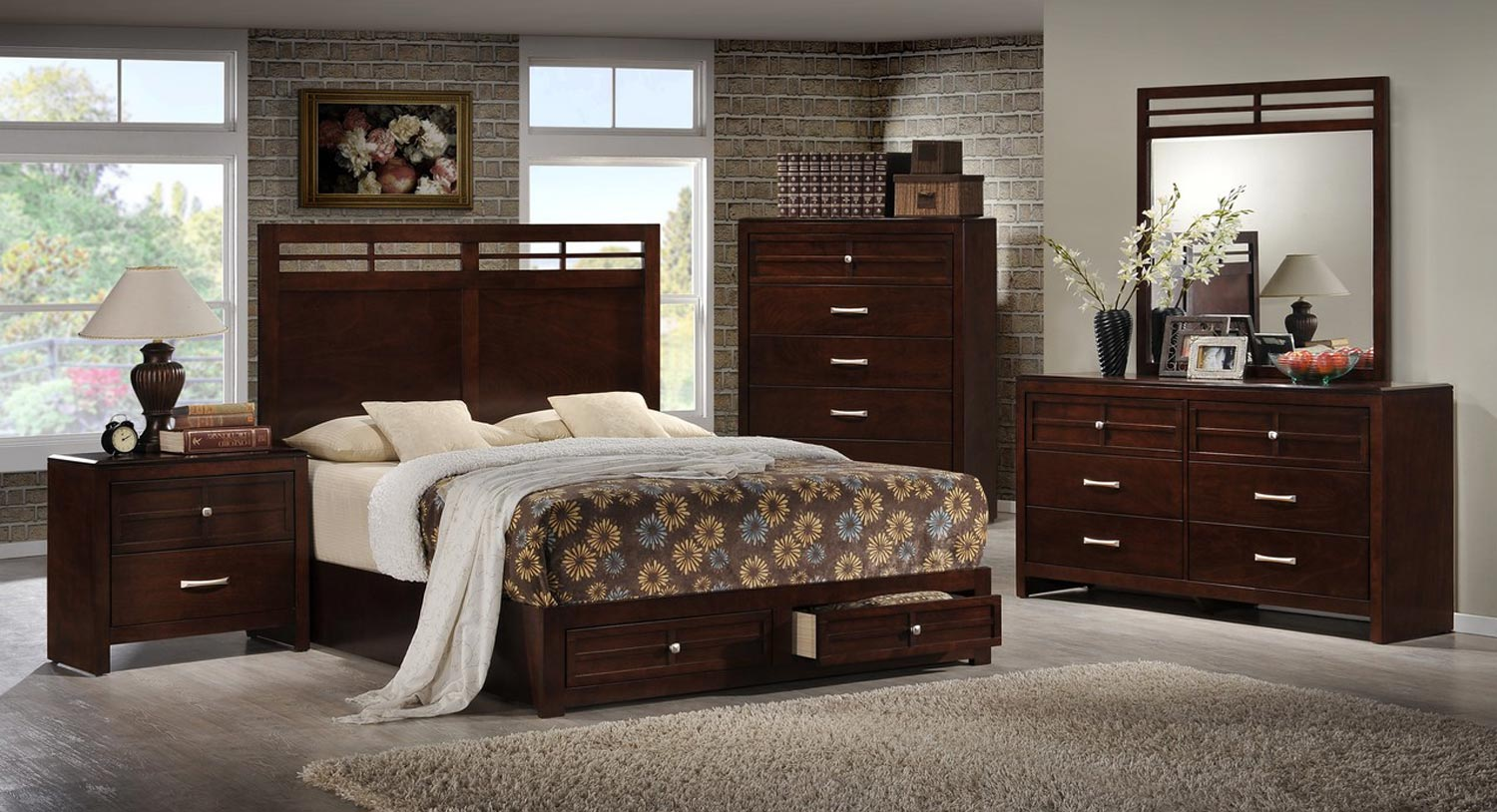 Global Furniture USA Abbey Bedroom Set - Merlot