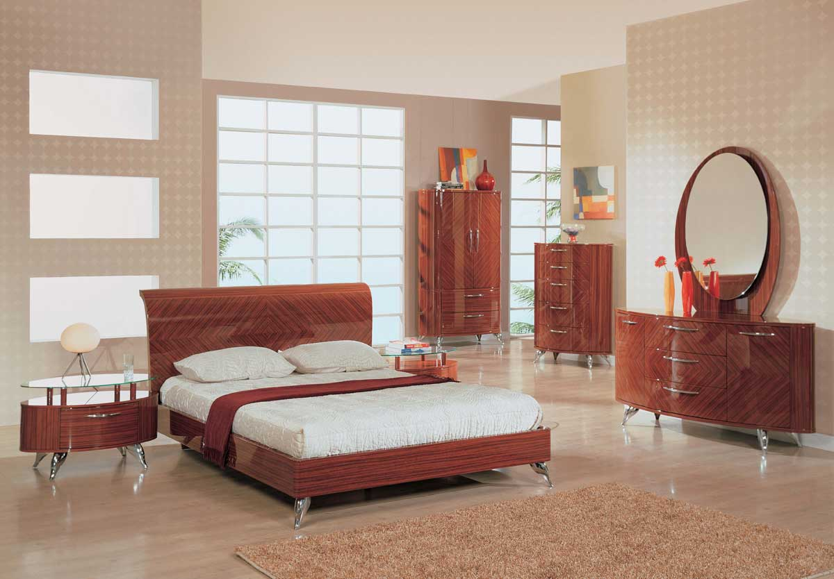 Global Furniture USA Adriana Slat Bedroom Collection-Light Zebrano