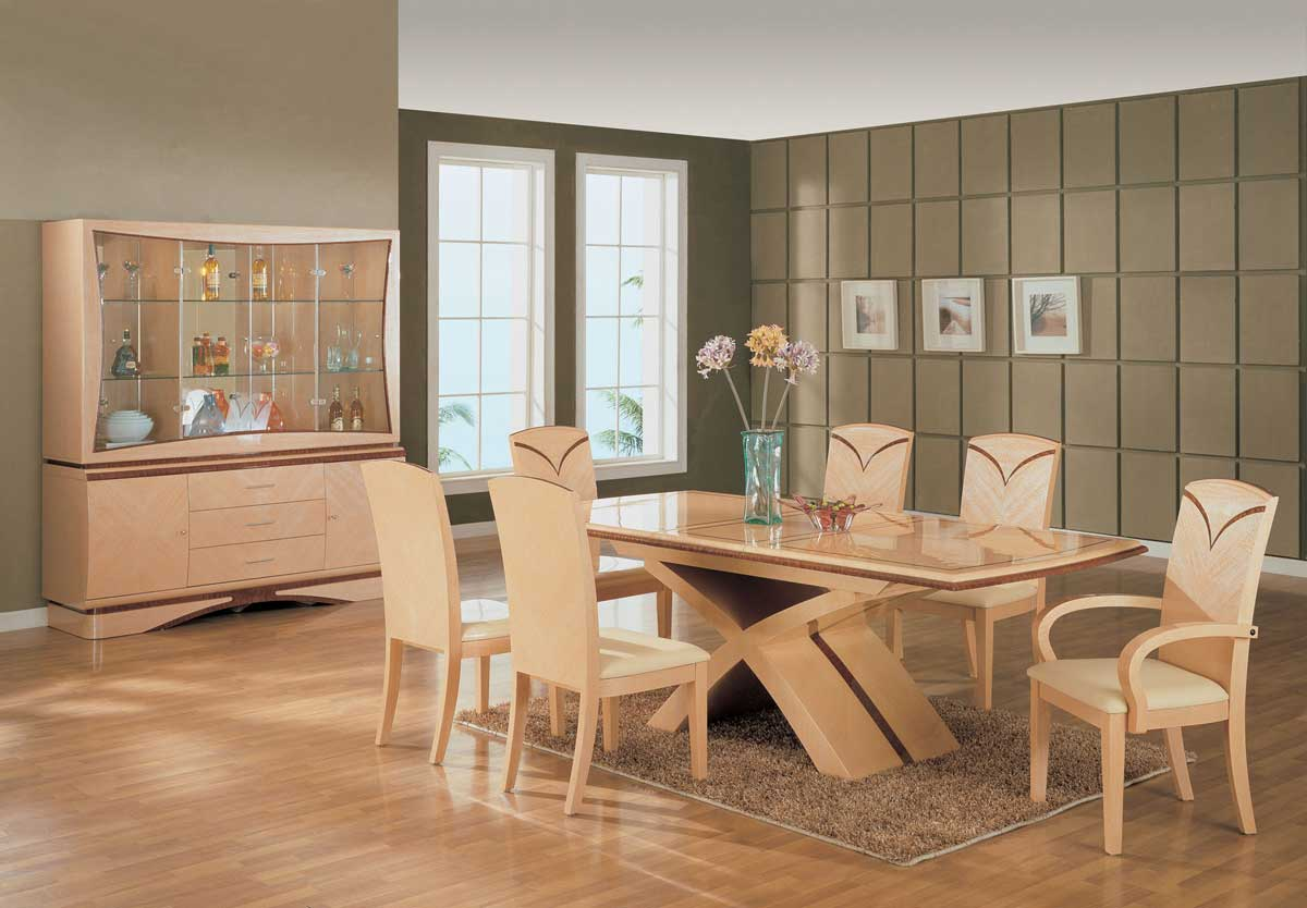 Global Furniture USA Linda Dining Set - Light Oak with Cherry
