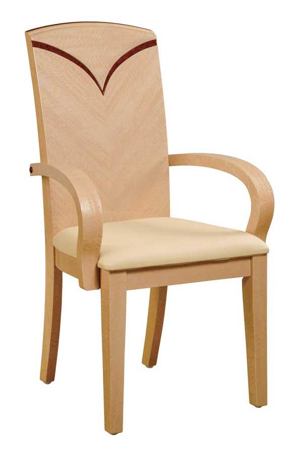 Global Furniture USA Linda Arm Chair - Beige PVC with Light Oak Wood