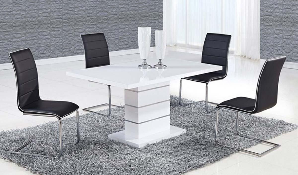 Global Furniture USA 470 Dining Set - White High Gloss MDF - Metal Trim A