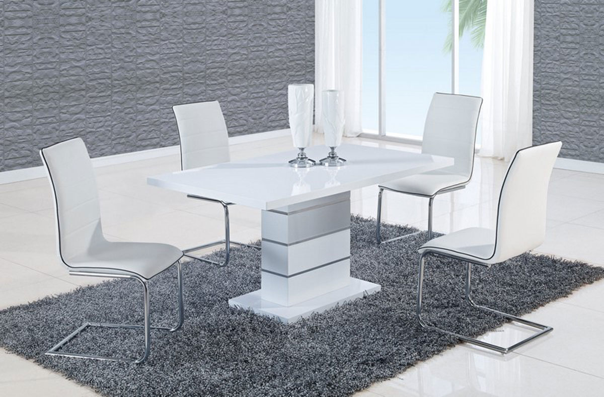 Global Furniture USA 470 Dining Set   White High Gloss MDF   Metal Trim B