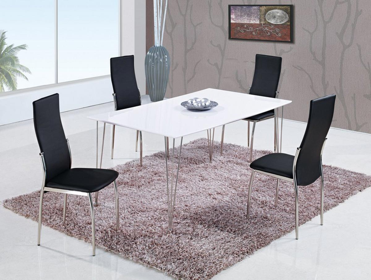 Global Furniture USA 475 Dining Set - White High Gloss MDF - Metal Legs A