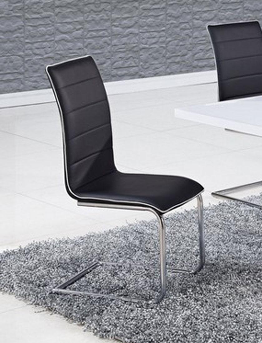 Global Furniture USA 490 Dining Chair - Black/White Trim - Metal Legs