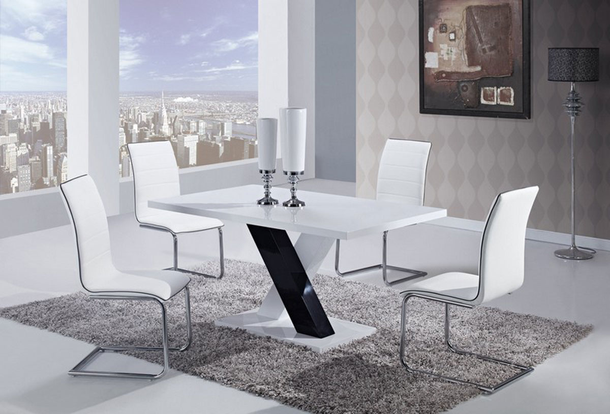 Global Furniture USA 490 Dining Set -White High Gloss MDF - Black and White Legs B