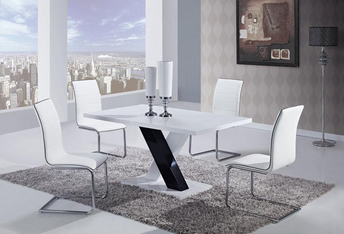 Global Furniture USA 490 Dining Set -White High Gloss MDF - Black and White Legs B