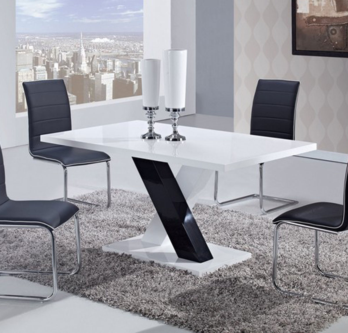Global furniture usa 490 dining set white high gloss mdf for Black and white dining set