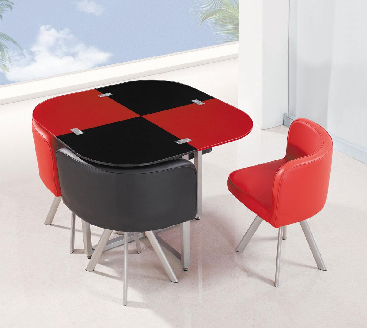 Global Furniture USA 536-1DT Dining Set - Vinyl/Black/Red - Metal Legs