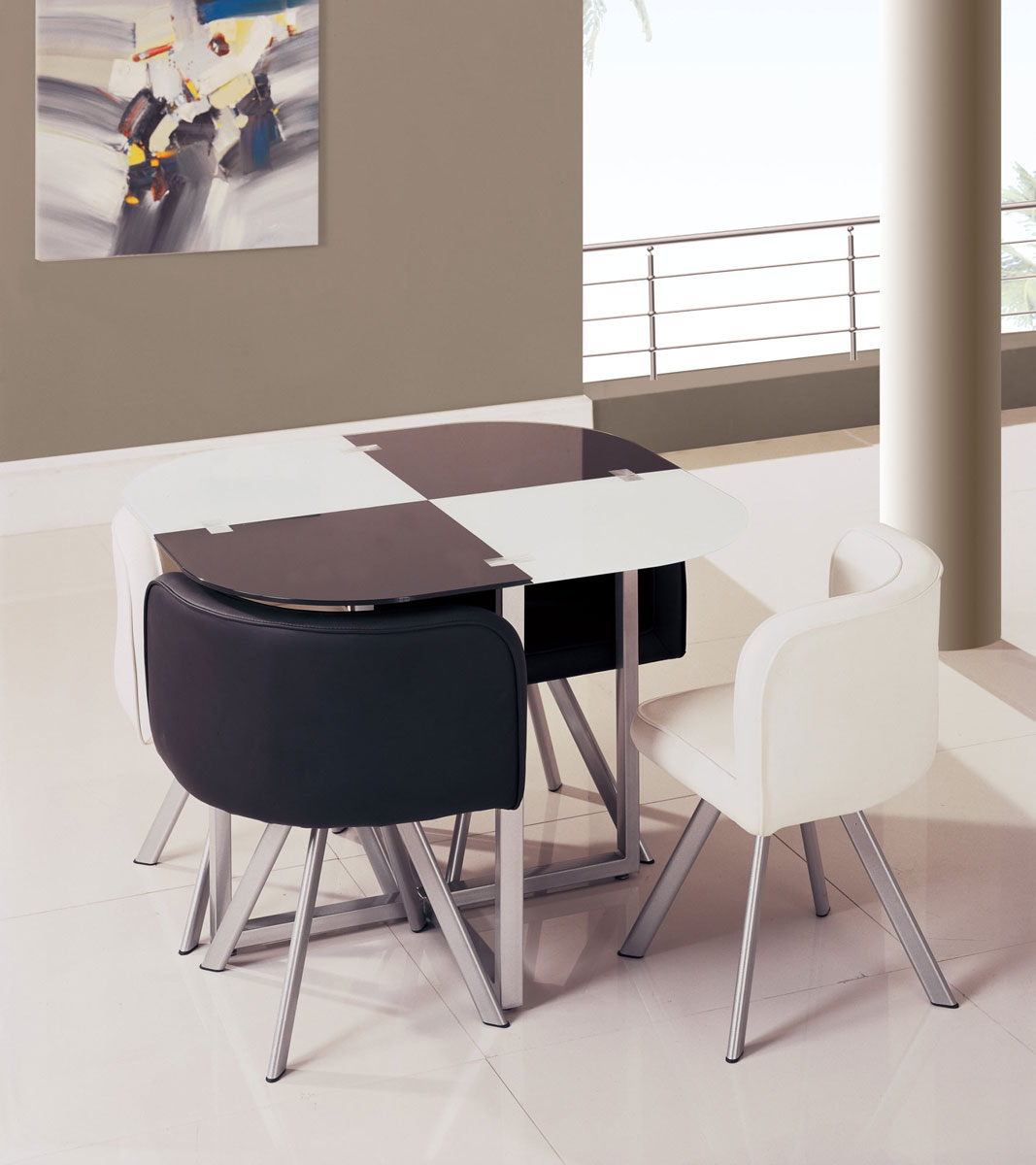 Global Furniture USA 536-1DT Dining Set - Vinyl/Black/White - Metal Legs