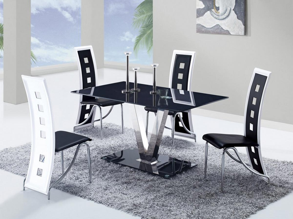 Black and white dining room sets - Global Furniture Usa Dining Set Black Stainless Steel Legs
