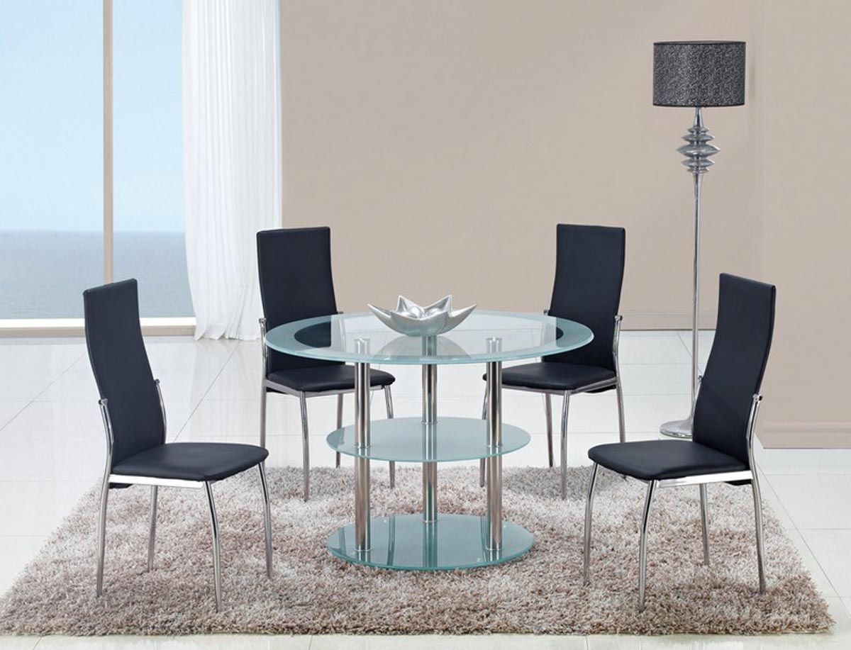 Global Furniture USA 79 Dining Set - Frosted Glass - Stainless Steel Legs A
