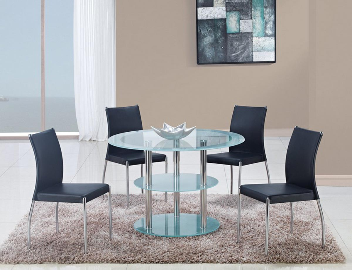 Global Furniture USA 79 Dining Set - Frosted Glass - Stainless Steel Legs B