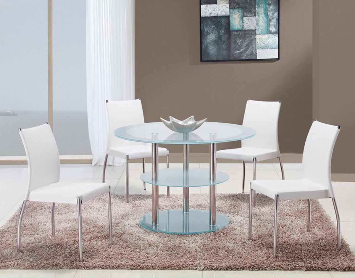 Global Furniture USA 79 Dining Set - Frosted Glass - Stainless Steel Legs C