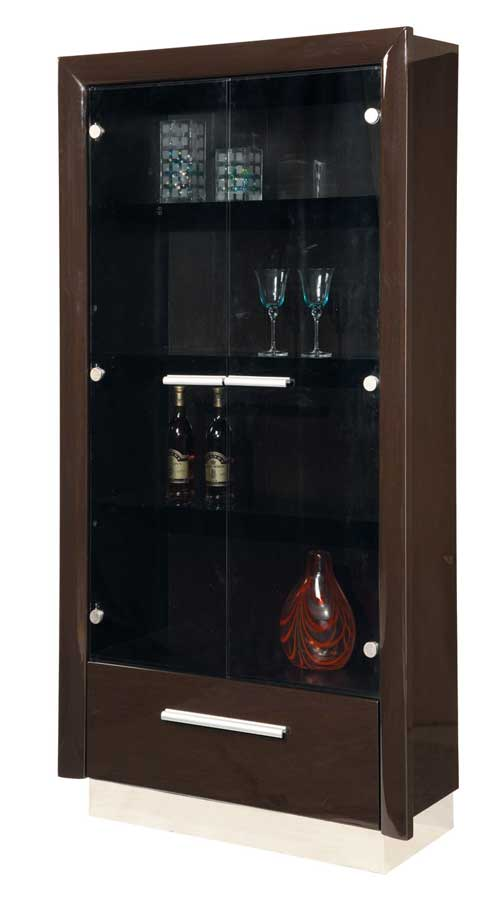 Global Furniture USA D99 Vetrina Curio-China Cabinet-Wenge and Chrome