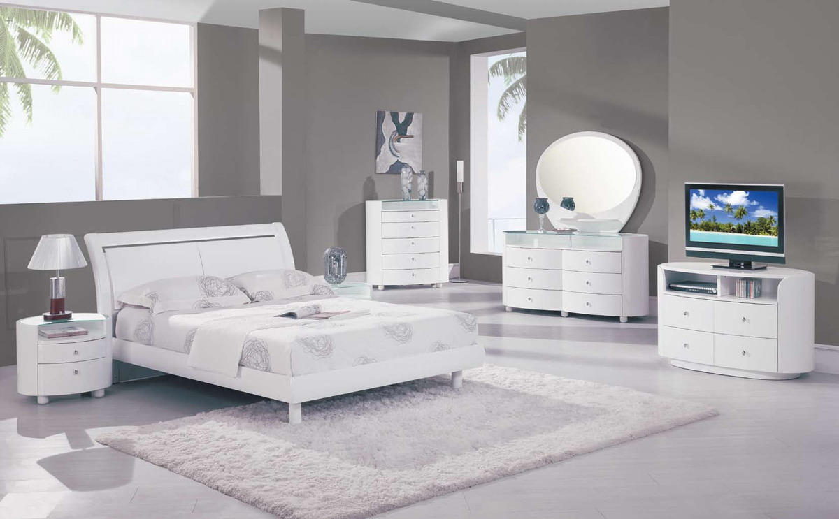 Global Furniture Usa Emily Platform Bedroom Collection White Gf Emily Wh Bed Set At