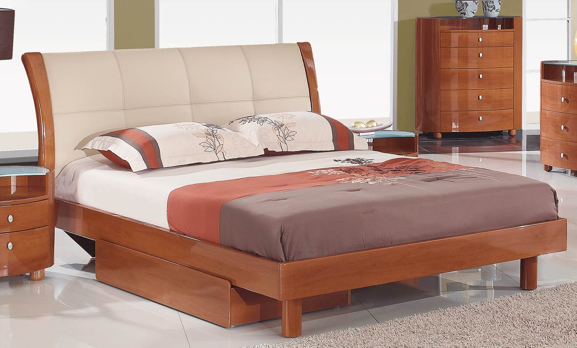 Global furniture usa evelyn platform bedroom set cherry for Bedroom furniture usa