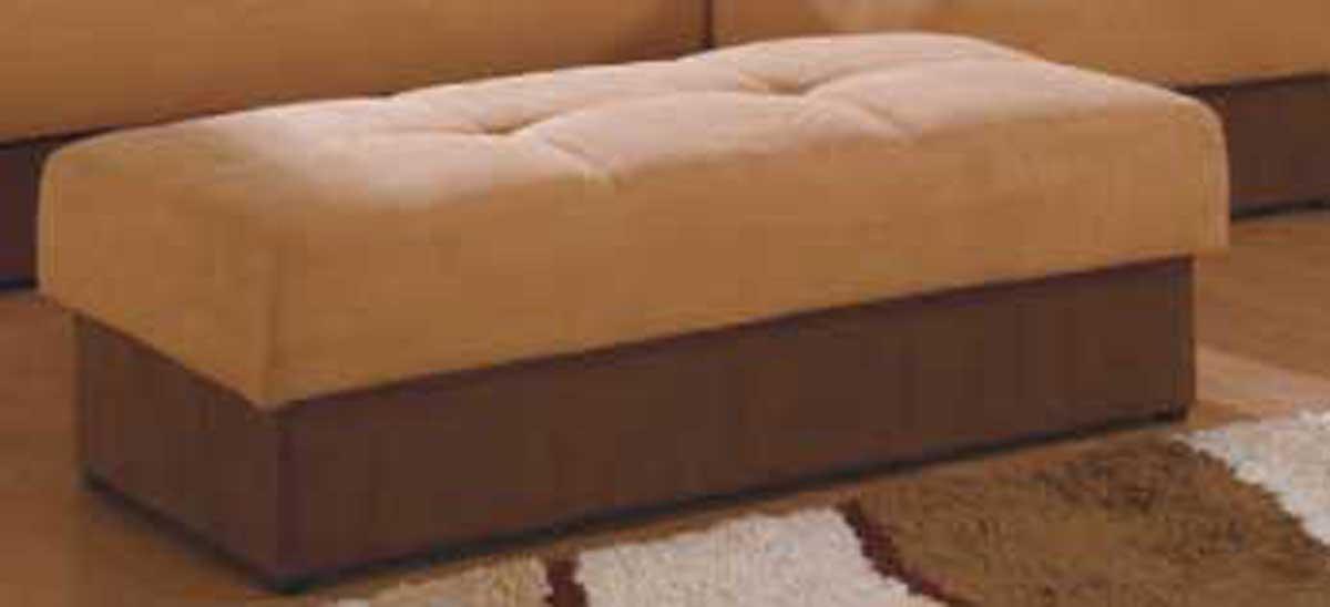 Cheap Global Furniture USA GF-F017 Ottoman-Brown-Beige Microfiber