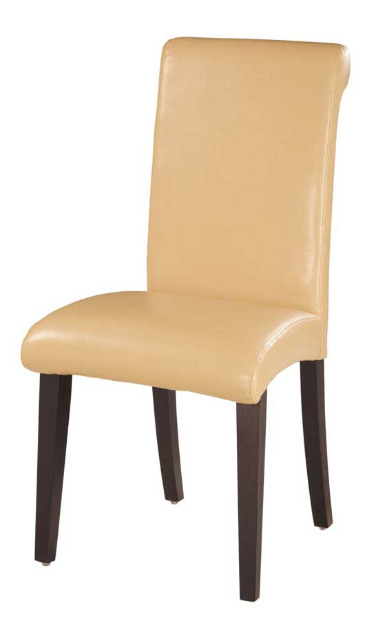 Cheap Global Furniture USA GF-G019 Dining Chair – Beige Leatherette Cushion and Wenge Wood