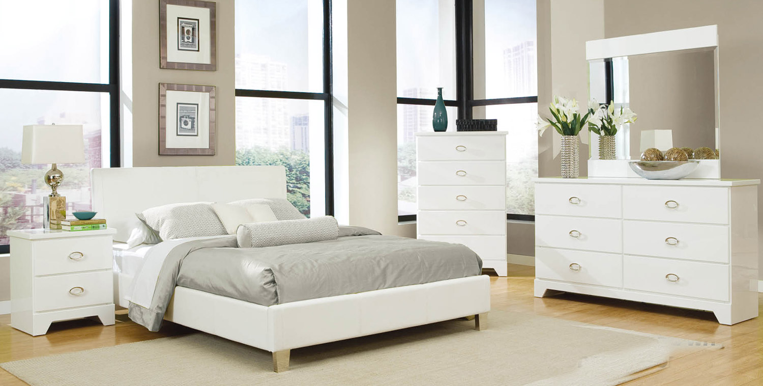 Global furniture usa khloe bedroom set white khloe wh for Bedroom furniture usa