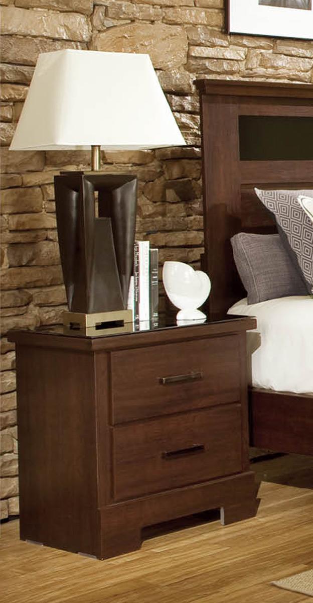 Global Furniture USA Leah Nightstand - Engineered Wood/Paper Veneer - Dark Cherry Merlot