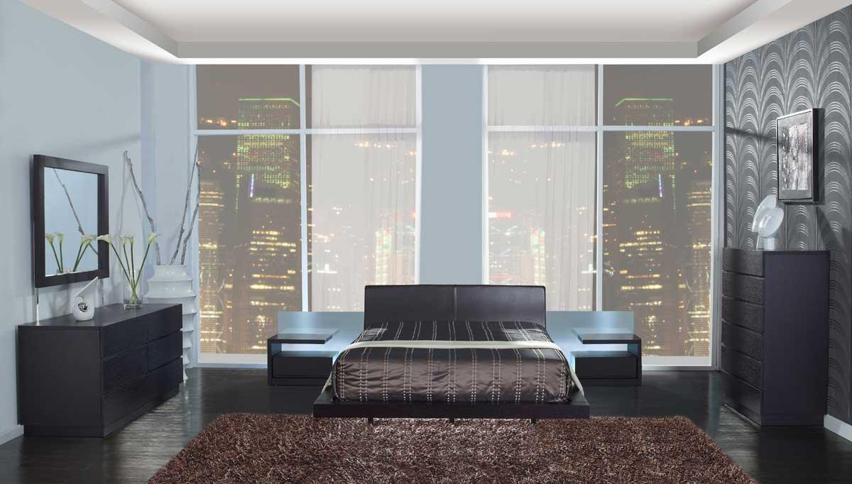 Nice Global Furniture USA Miami Platform Bedroom Set   Wenge
