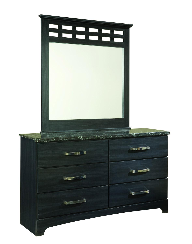 Global Furniture USA Olivia Dresser - Engineered Wood/Oak Wood Graining Laminate - Black