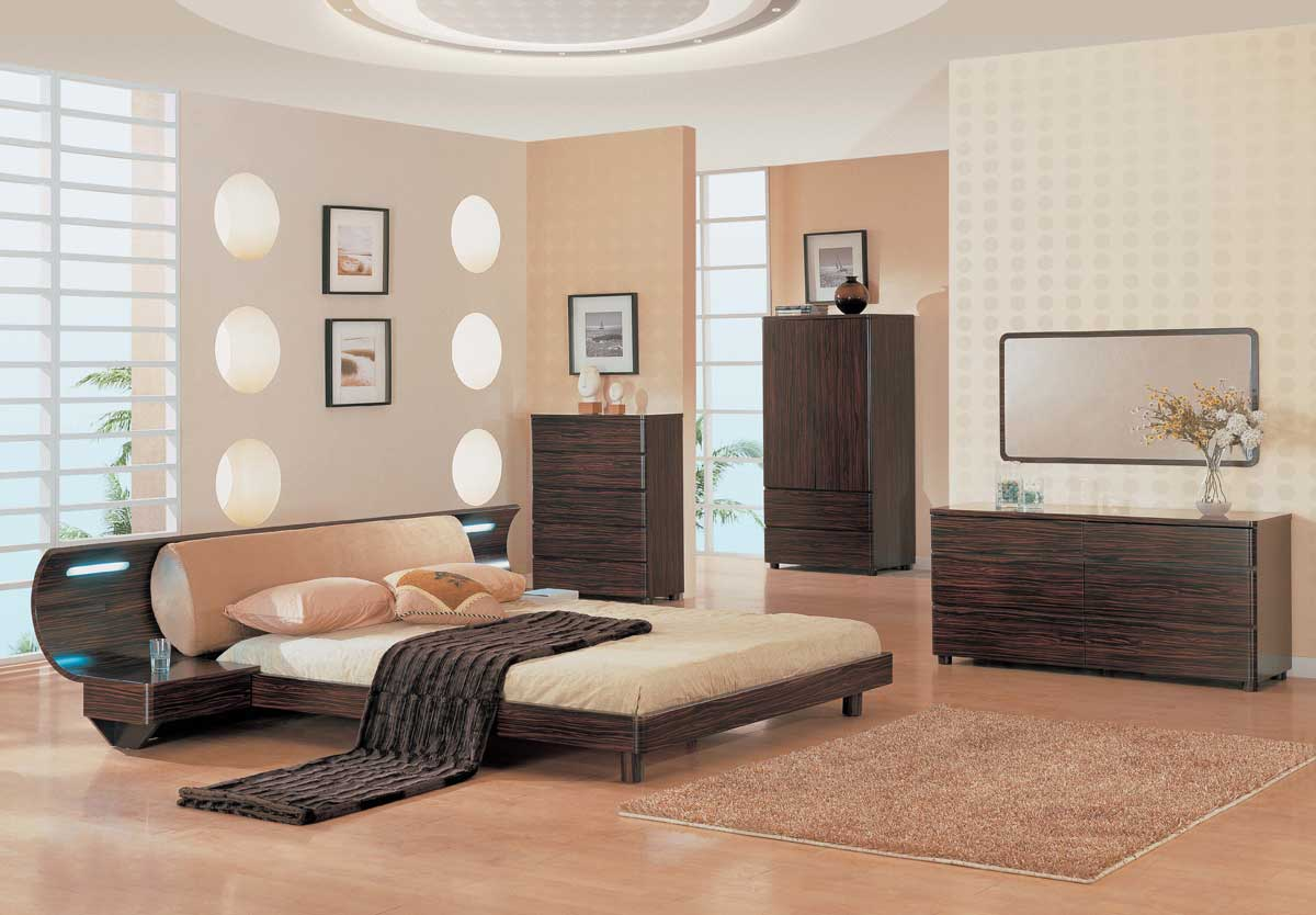 Global Furniture USA Rio Slat Bedroom Collection-Dark Zebrano